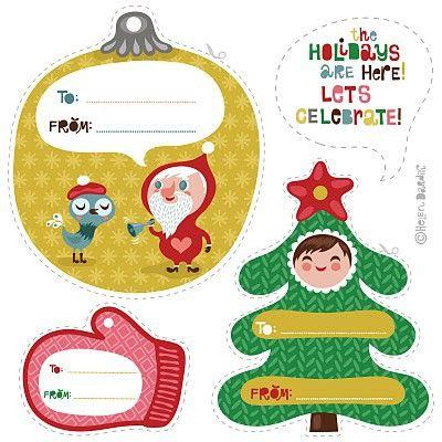 Etiquetas para presente de Natal com tema natalino para imprimir do site I Heart Nap Time.