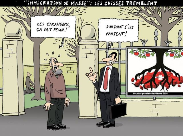 "Comic: ""Immigrants scare me"", ""Specially if they leave"" . Herrmann"