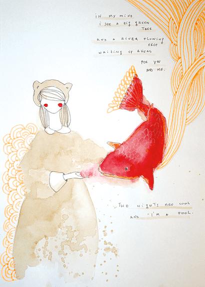 """Eva Uviedo: aquarela """"Menina-Urso e Peixe""""."""