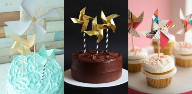How to make beautiful and easy to make DIY pinwheel cake toppers