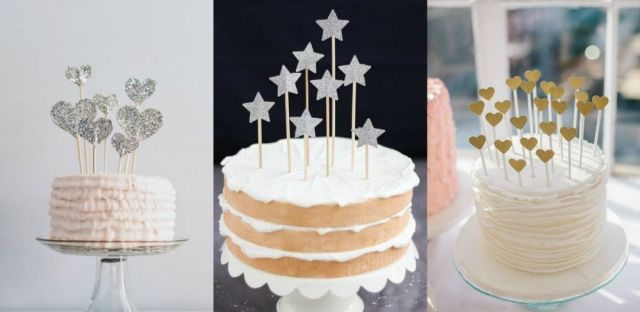 How to make beautiful and easy to make DIY glitter cake toppers