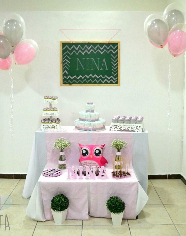 Chá de bebê da Nina: rosa, cinza e de corujinha