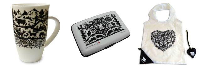 Souvenires com reprodução de découpages: caneca, porta-cartão e ecobag. À venda no site Bazar Ouchy.