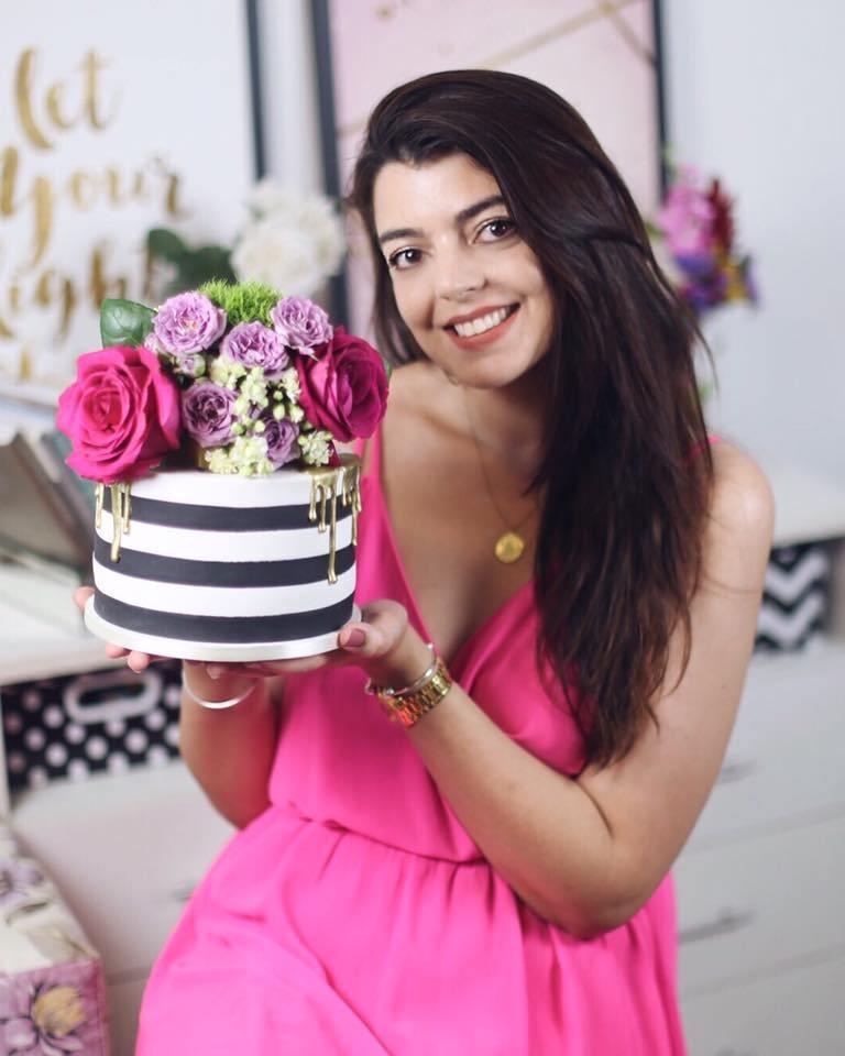 Bolo floral inspirado na Kate Spade para o aniversário da Lia