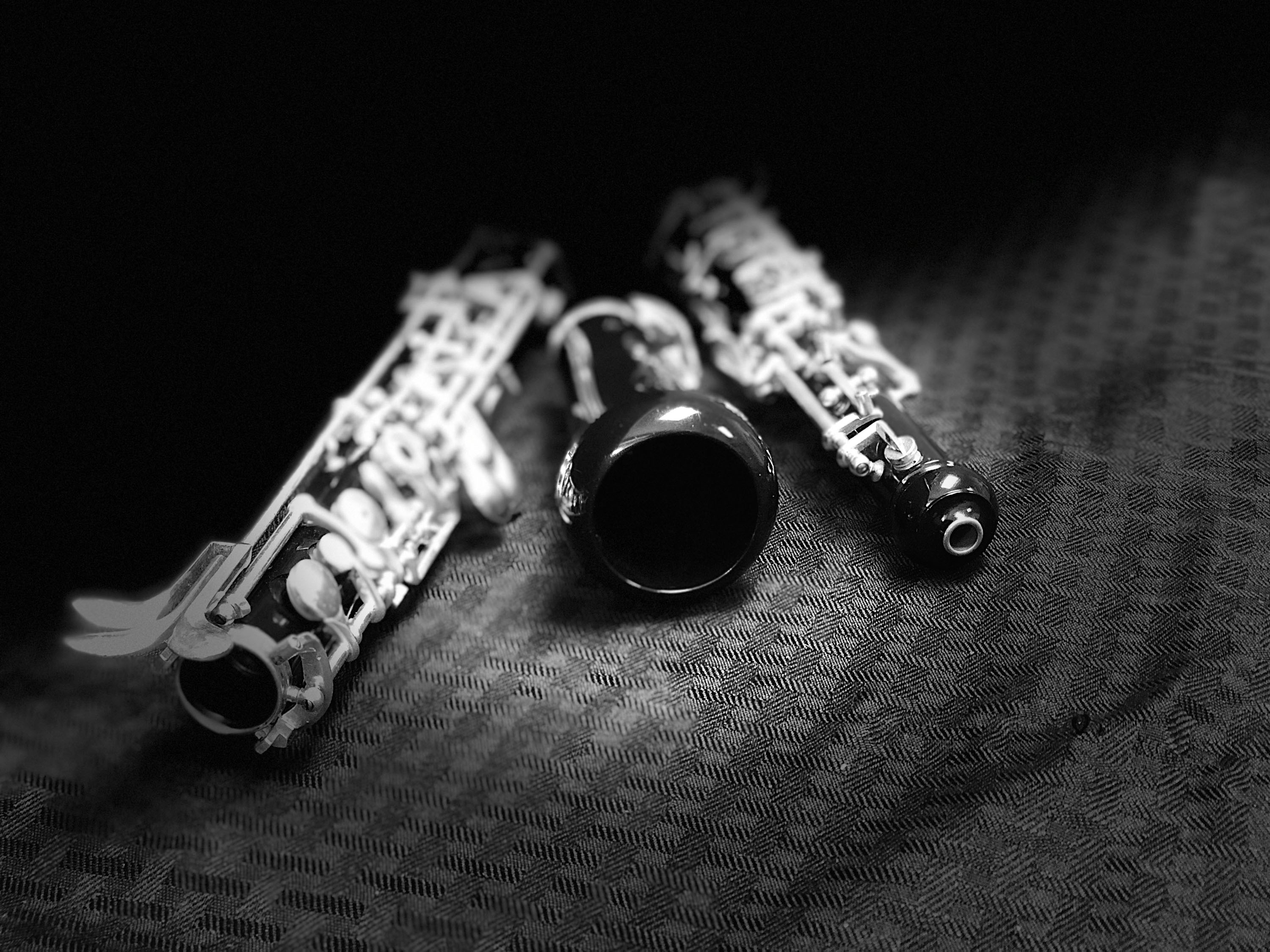 Close-up view of disassembled clarinet