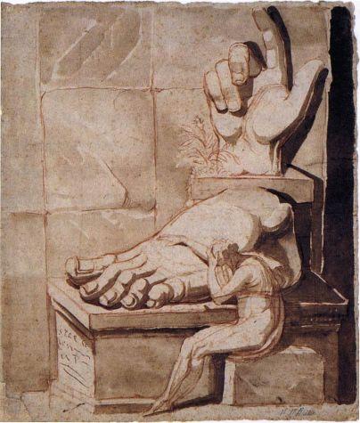 Johann Heinrich Füssli o Fuseli. El artista desesperado ante la grandeza de las ruinas antiguas (1778-80). Kunsthaus, Zúrich.