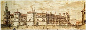 Antón van der Wyngaerde. Fachada del Alcázar de Madrid. s. XVI