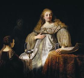 Rembrandt. Judit en el banquete de Holofernes (antes conocido como Artemisia). 1634. Museo del Prado