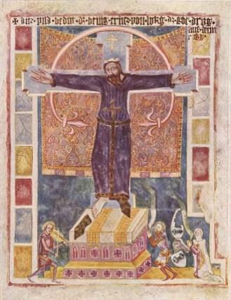 Mural de Santa Wilgefortis en Weissenburg, Baviera, fines del siglo XIV. foto: wikipedia