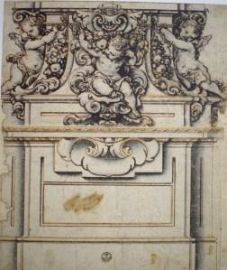 Francisco Rizi. Pedestal con putti. Gabinete de dibujos y estampas de la Galería Uffizi. Florencia