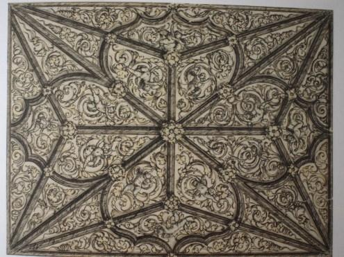 Sebastián de Herrera Barnuevo. Diseño de la decoración de una bóveda gótica. Gabinete de dibujos y estampas de la Galería Uffizi. Florencia.