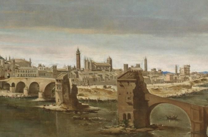 Juan Bautista Martínez del Mazo. Detalle de la Vista de Zaragoza en el que se aprecia el antiguo templo gótico-mudejar del Pilar. 1647. Museo del Prado