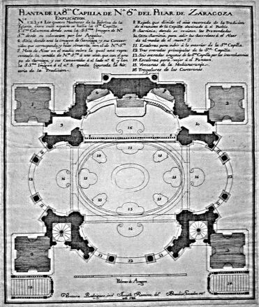 Planta Santa Capilla. Ventura Rodríguez (inventor), José Ramírez de Arellano (dibujo) y Braulio González (grabado), 1766.