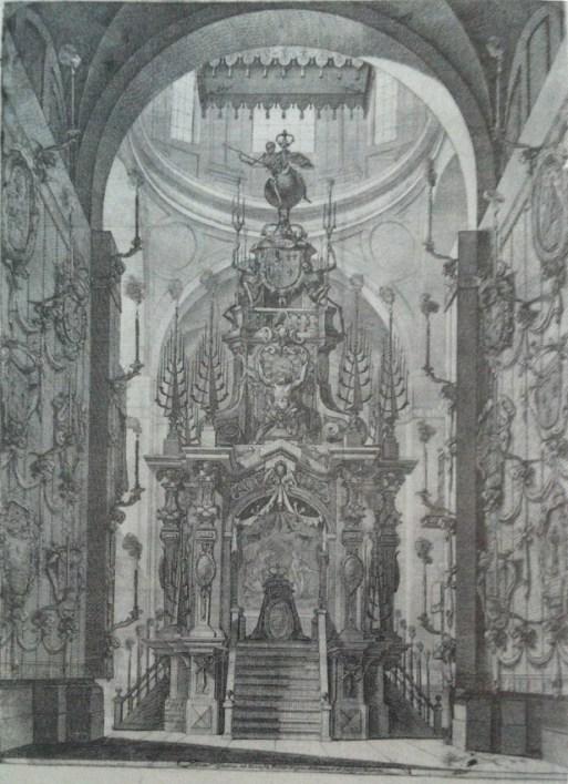 José Benito Churriguera (traza). Catafalco de María Luisa de Orleán en la Encarnación. 1689.
