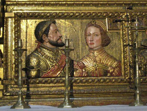 Relicario de la Capilla Real. Detalle de Carlos V e Isabel de Portugal. Granada. Foto: wikicommons.