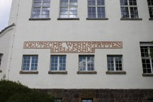 The main entrance of the old furniture manufactory in Hellerau.