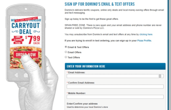 dominos sms marketing opt in