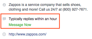 Zappos response rate on Facebook.