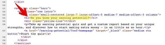 H1 tag - example within source code for Ramit Sethi