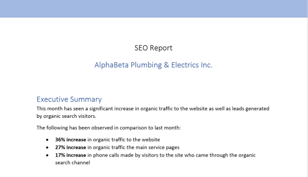 An example executive summary of a report.