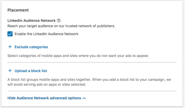 Choose your LinkedIn ad placement: linkedin audience network