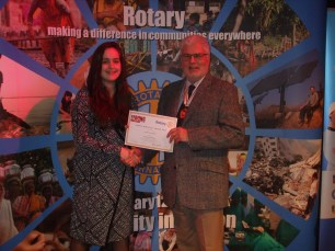 The winning vocalist, Katherine Gregory, with the Deputy Lieutenant. Katherine is supported by The Rotary Club of Redruth and goes on to the National Final in Cardiff on 6 May.