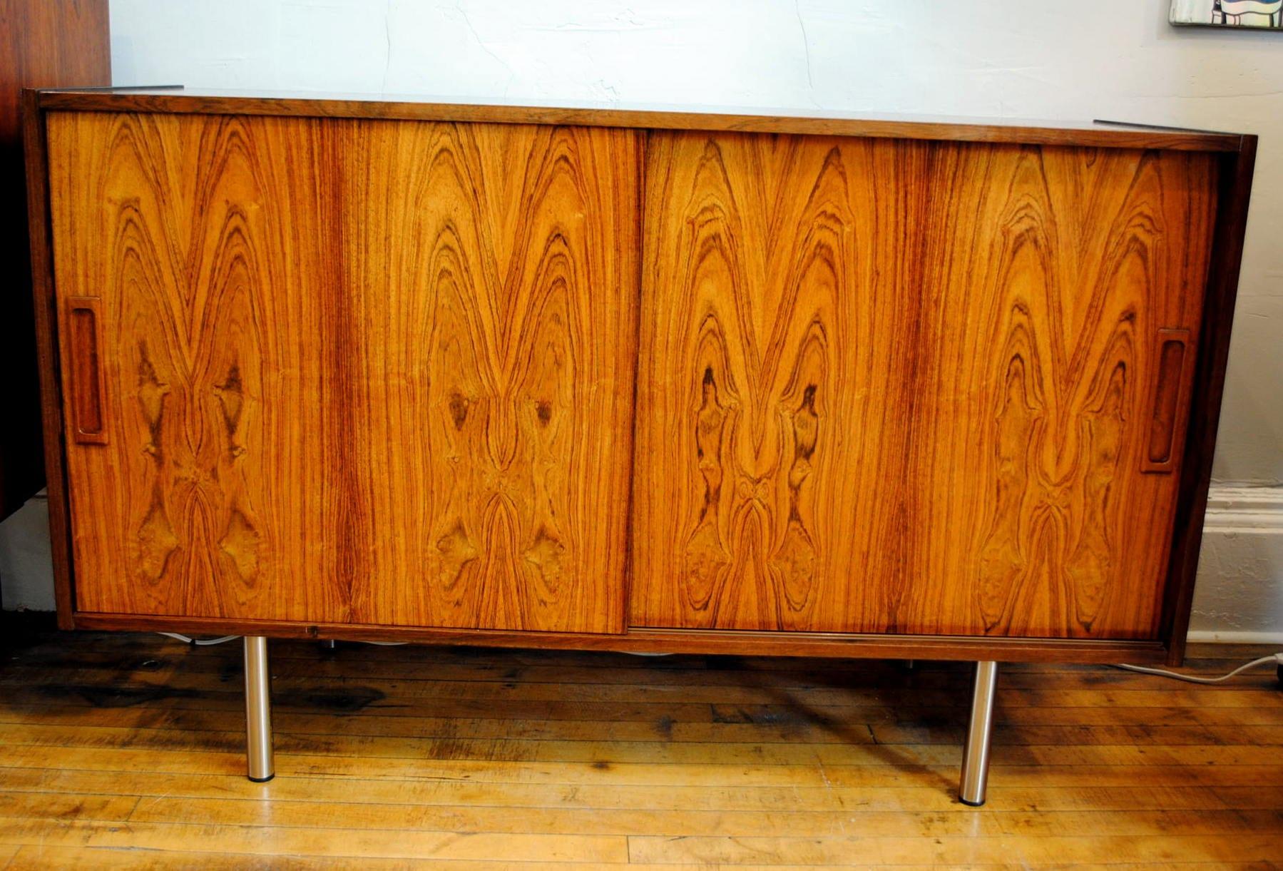 Danish Rosewood Credenza : Danish rosewood credenza w chrome legs circa