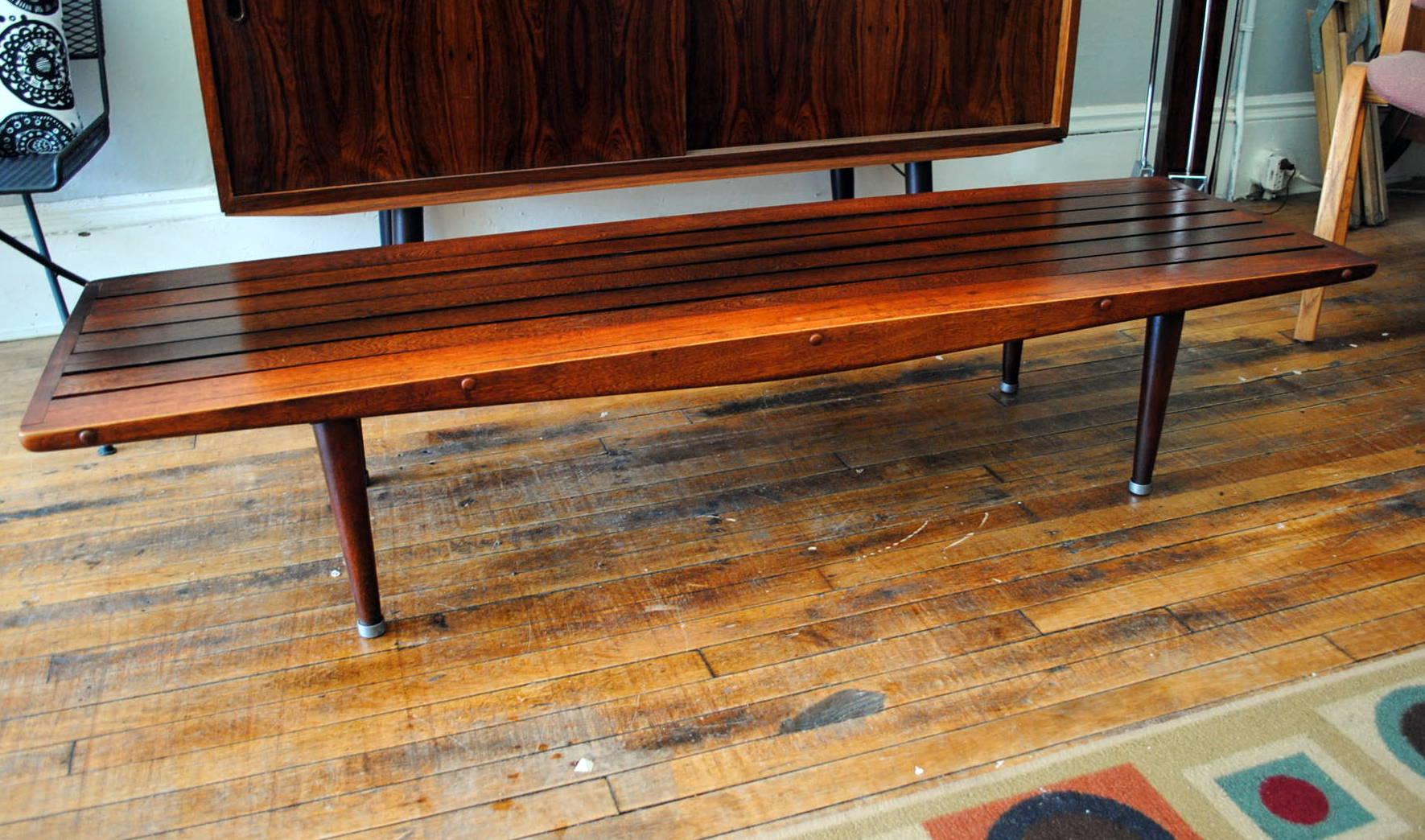 Mid century slat benchcoffee table circa mid century slat benchcoffee table geotapseo Gallery