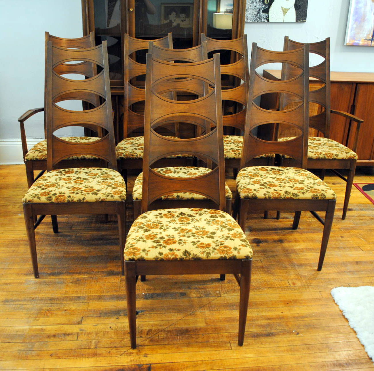 Set of kent coffey mid century dining chairs was