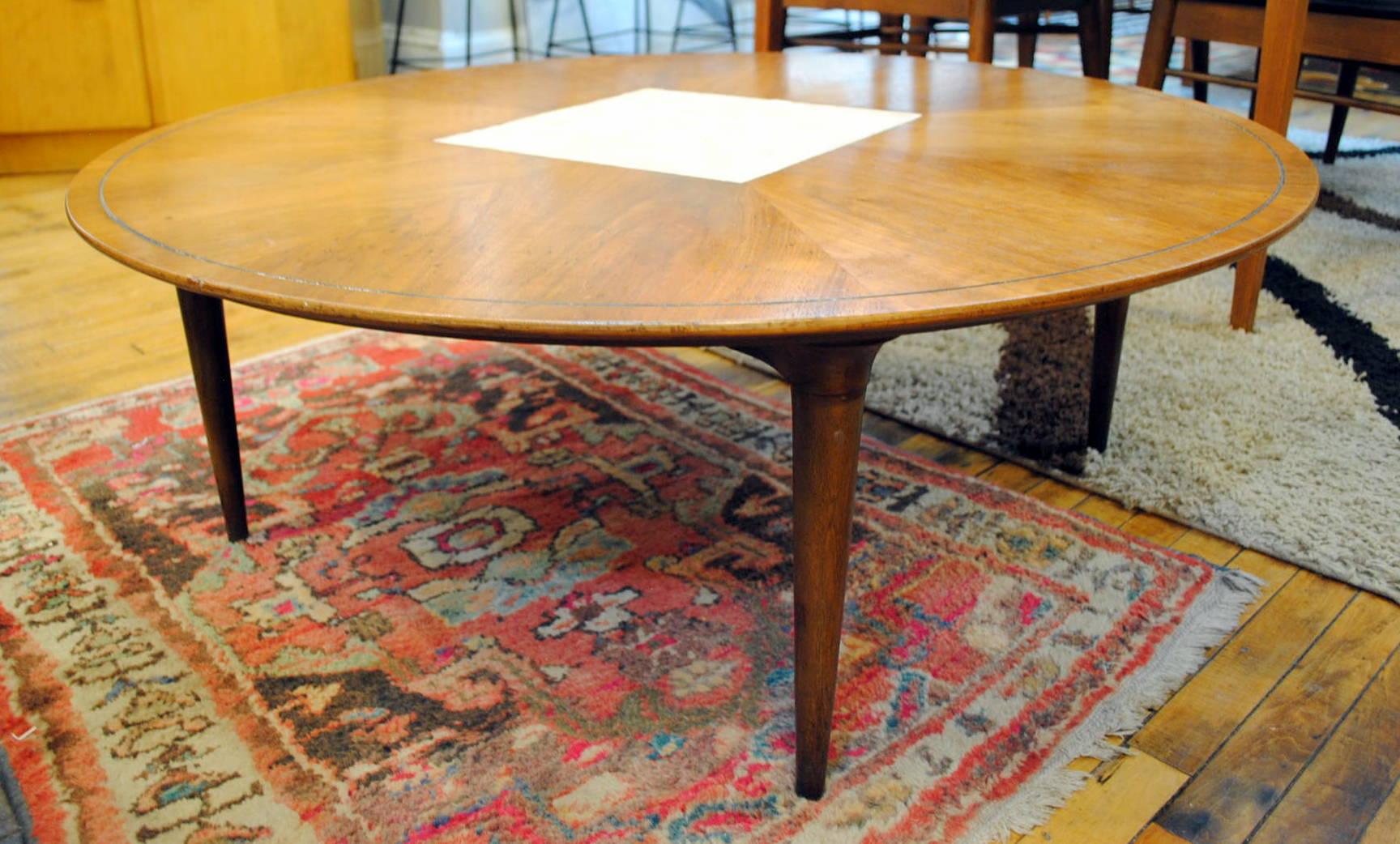 Mid Century Round Walnut Coffee Table By Lane **SALE PRICE $495