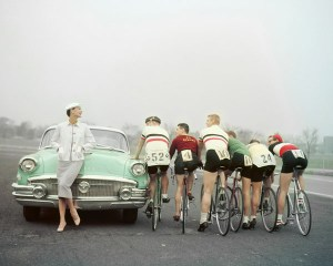 1950s car and bicycles.