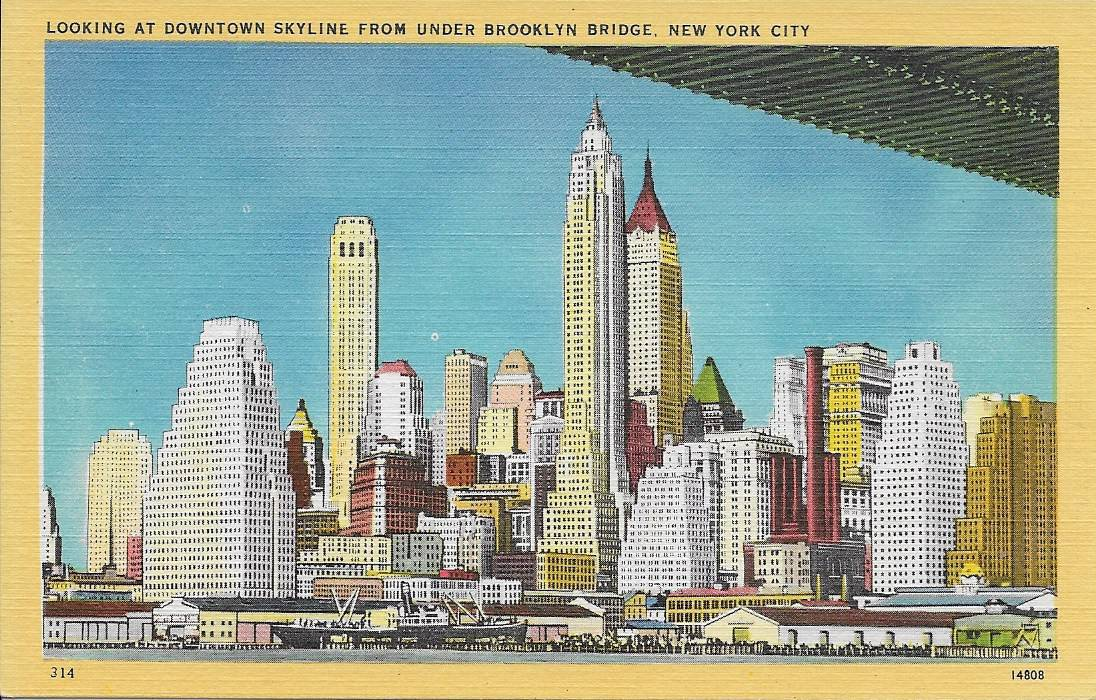 3760 Downtown Skyline from under Brooklyn Bridge, ca1940s – Circle 7 ...
