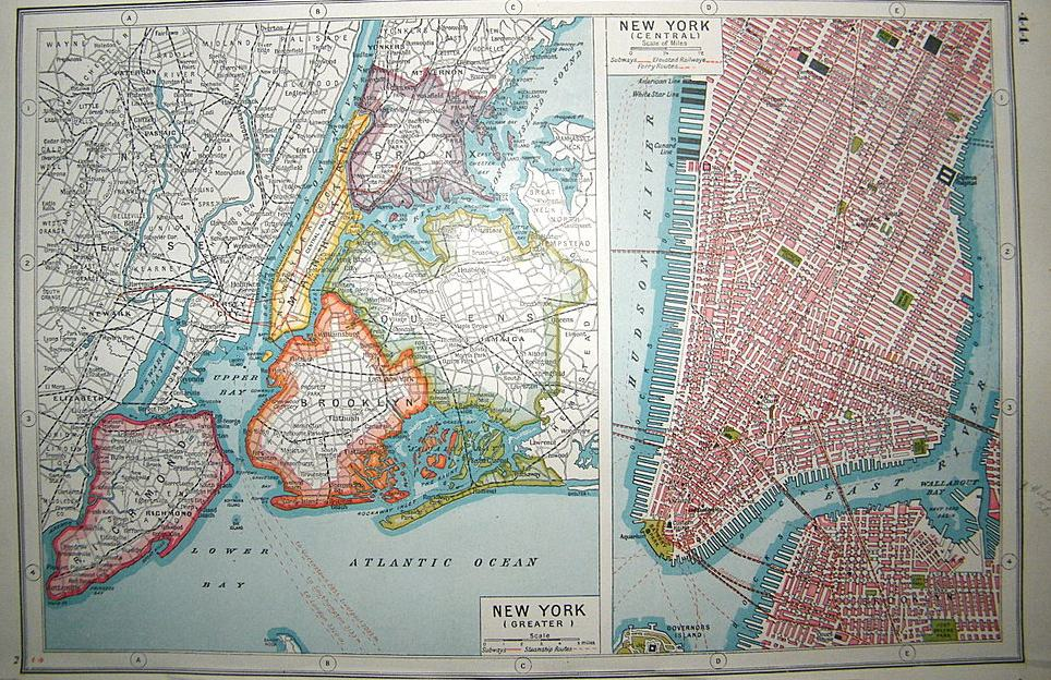 Map Of Greater New York City Area.1215 New York City 1918 Circle 7 Framing