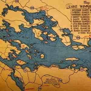 #4621 Map of Lake Winnipesaukee, NH 1940s
