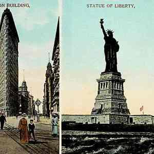#5387 Flatiron Building & Statue of Liberty, ca1910