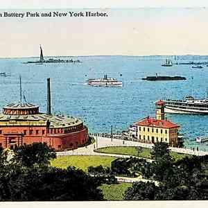 #5399 Aquarium in Battery Park and New York Harbor, ca1920
