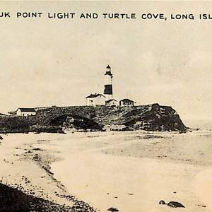 #5484 Montauk Point Light & Turtle Cove, 1910s