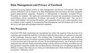 Data Management and Privacy of Facebook