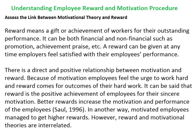Understanding Employee Reward and Motivation Procedure