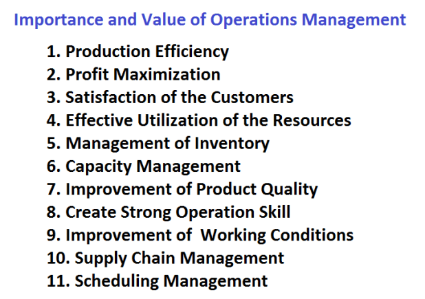 Importance and Value of Operations Management