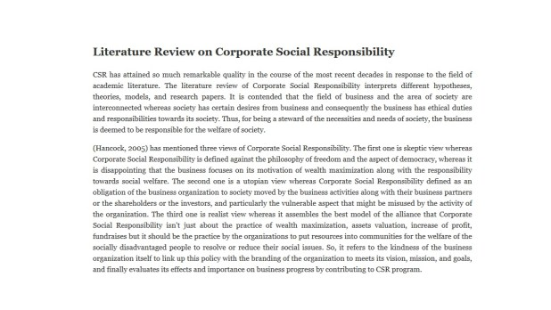Literature Review on Corporate Social Responsibility