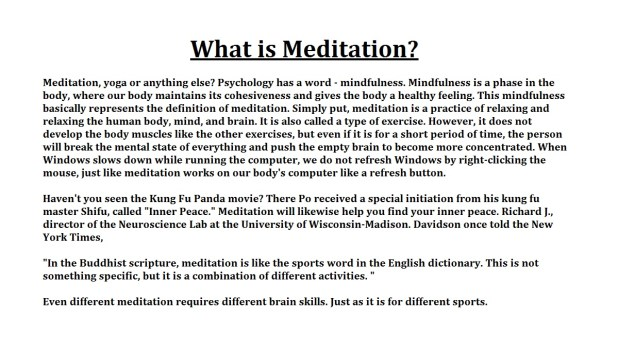 Meditation In The practice of Merit
