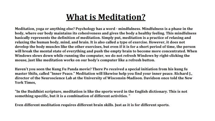 Meditation In The practice of Merit