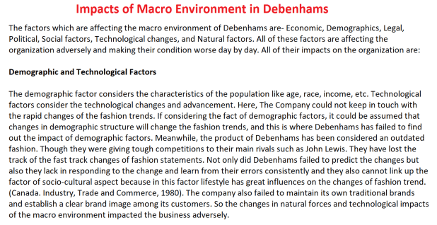 Impacts of Macro Environment in Debenhams