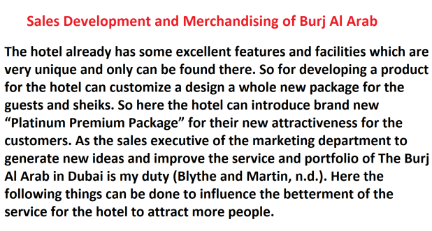 Sales Development and Merchandising of Burj Al Arab