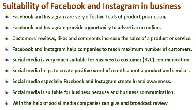 Suitability of Facebook and Instagram in business