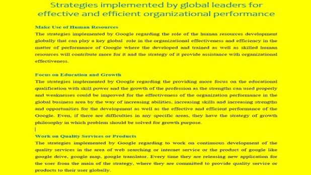Strategies Implemented by Global Leaders