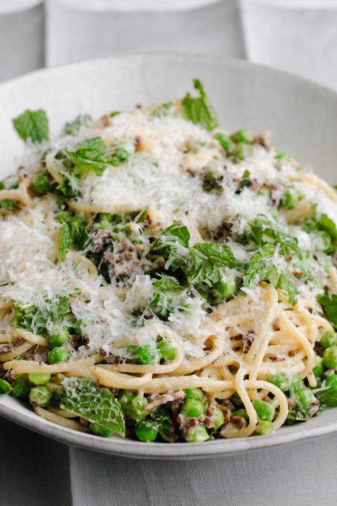 Spring Pasta with Duck Bacon, Peas and Mint Recipe | circleofeaters.com