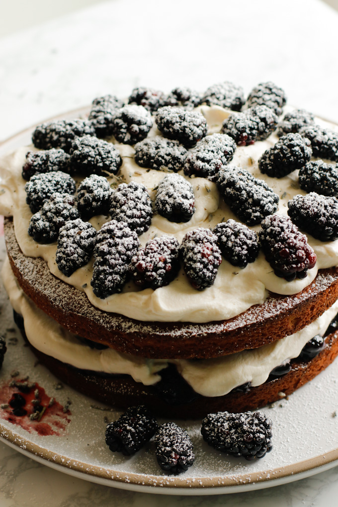 Victoria Sponge Cake with Blackberries and Lavender Cream - This Victoria sponge cake takes the traditional sponge cake to the next level. Talk about a stunning dessert.   circleofeaters.com