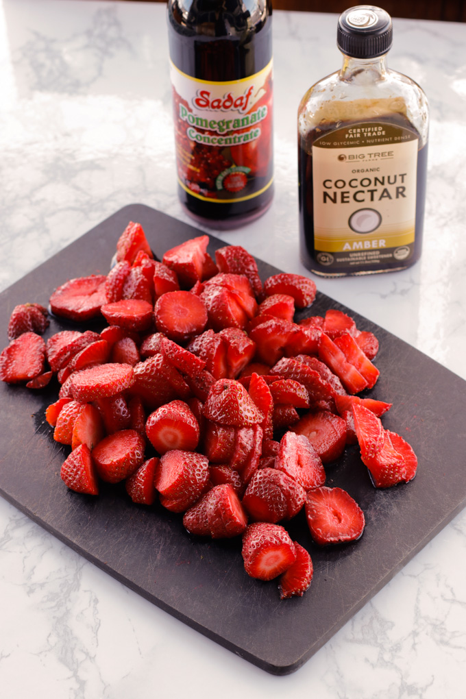 Strawberries with Pomegranate Syrup and Crème Fraîche | circleofeaters.com
